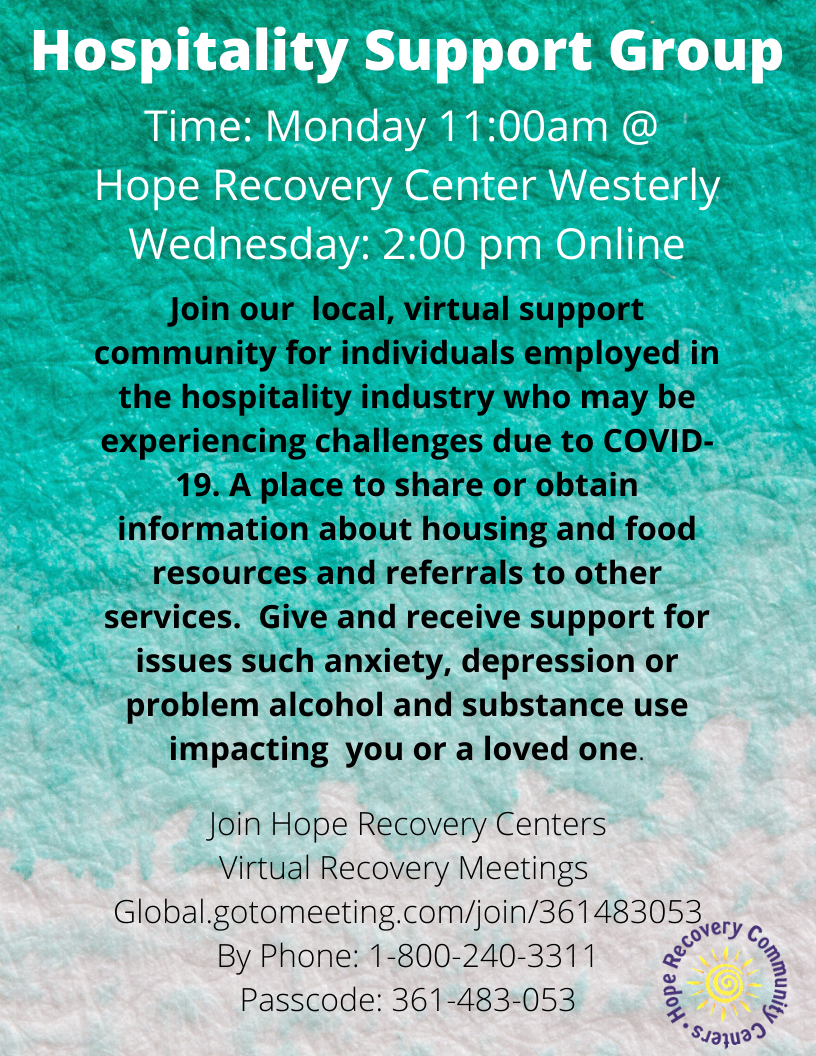 Hospitality Support Group Meetings: 1-800-240-3311